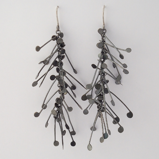 Chaos long dangling wire earrings, oxidised