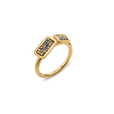 Gold plated blue and gold ring
