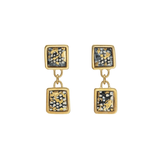 Gold plated blue and gold square framed double drop earrings