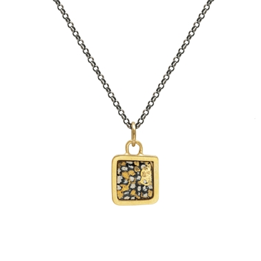 Gold plated blue and gold square framed pendant