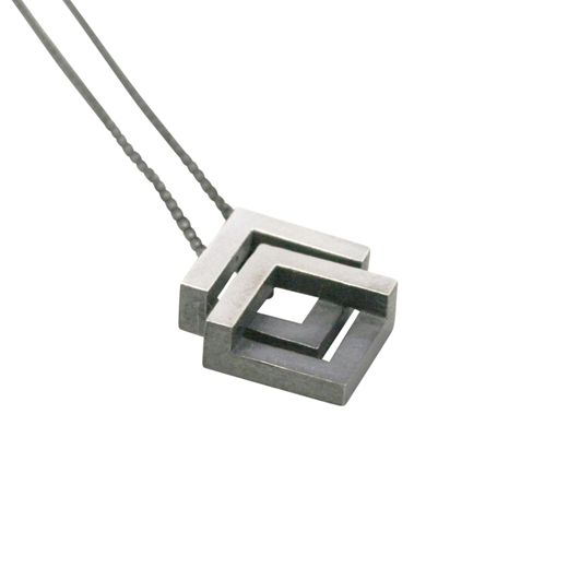 Double Geom Pendant Oxidised