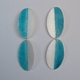 Double Deep Turquoise and silver fold earrings