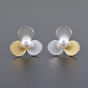3 circles earrings with Keumboo and pearls