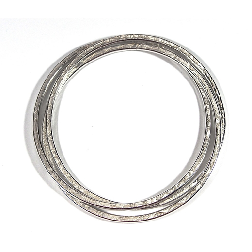 3 French Knit Imprinted Hoop Cluster Bangle