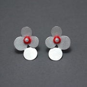 4 circles earrings with coral and pearl