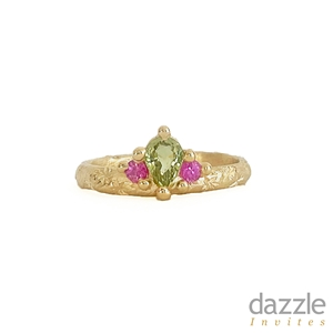 Green and Pink Crown Ring