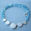 5 coin bead aquamarine necklace