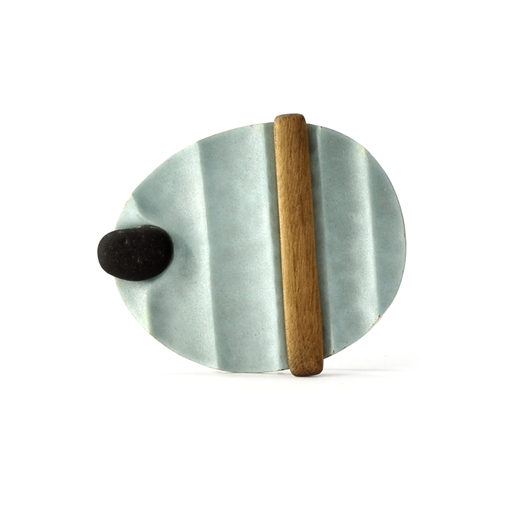 Ridged Brooch with Pebble