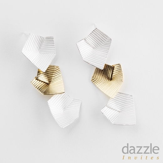 Lines in Motion earrings - silver & gold