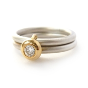 Silver and 18k yellow gold 2 band ring