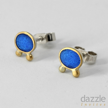 Bright Blue Oval Studs