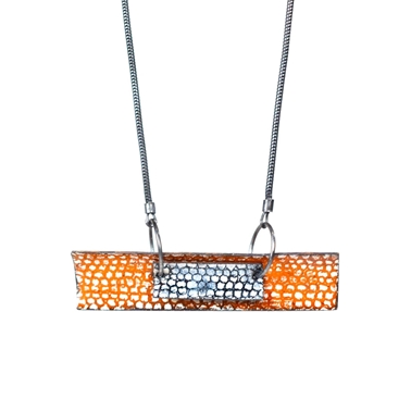 Two Piece Curved Rectangle Necklace - Tangerine and Blue