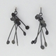 Chaos wire stud earrings, oxidised