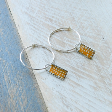Orange Mini Rectangle Curved Hoops