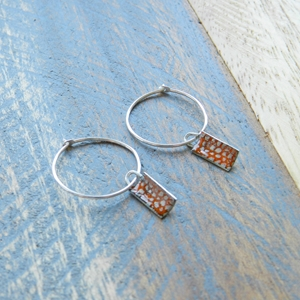 Tangerine Mini Rectangle Curved Hoops