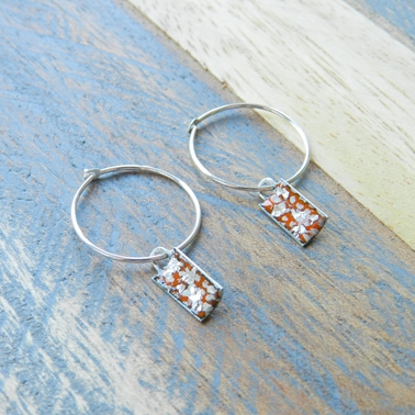 Tangerine and Silver Mini Rectangle Curved Hoops