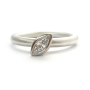 silver and white gold marquise diamond ring