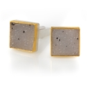 24ct Gold and Silver Cufflinks with White Square Druzy Agate