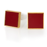 24ct Gold and Sterling silver cufflinks with Red Coral