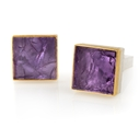 24ct Gold and Silver Cufflinks with Amethyst