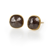 18ct Yellow and 24ct Gold Earrings with Rose Cut Black Diamonds