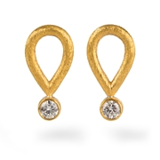 Silver, 24ct Gold Earrings with Round Diammonds