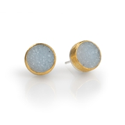 24ct Gold and Silver Earrings with White/Grey Round Druzy Agate
