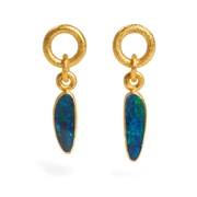 24ct Gold and Silver Earrings with Opals
