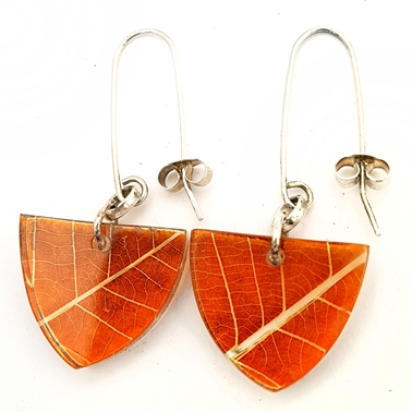 Amber Skeleton Leaf Small Triangle Earrings