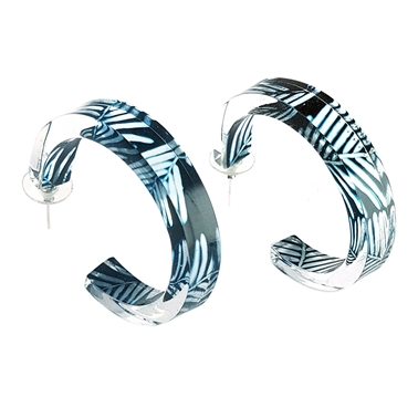 Black Blue Conifer Hoop Earrings