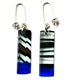 Black & Blue 'Humbug' Rectangle Earrings