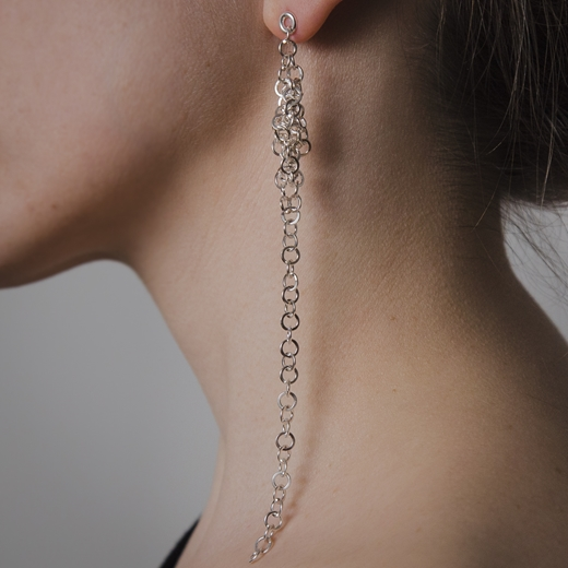 Darrow earrings on ear (silver option pictured)