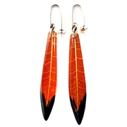 Ginger & Black Skeleton Leaf Long Drop Earrings