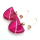 Magenta Skeleton Leaf Small Triangle Earrings (angled)