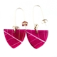 Magenta Skeleton Leaf Small Triangle earrings