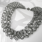 Oxidised silver short chain tube necklace