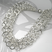 Silver short chain tube necklace