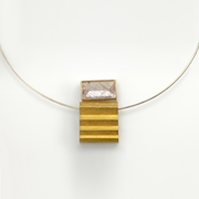 Silver and 24ct Gold Necklace with Rutilated Quartz