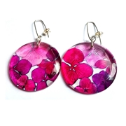 Pinks & Reds Hydrangea Disk Earrings