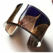Purple & Taupe Skeleton Leaf Cuff 45mm