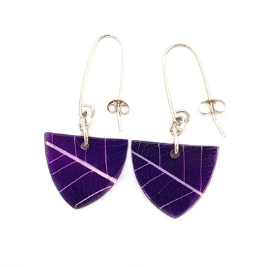 Purple Pak Choi Skeleton Leaf Small Triangle Earrings