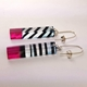 Raspberry Humbug Striped Rectangle Earrings (side)