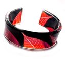 Red & Black Skeleton Leaf Cuff 25mm