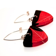 Red & Blabk Skeleton Leaf Triangle Earrings