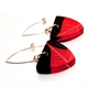 Red & Black Skeleton Leaf Triangle Earrings