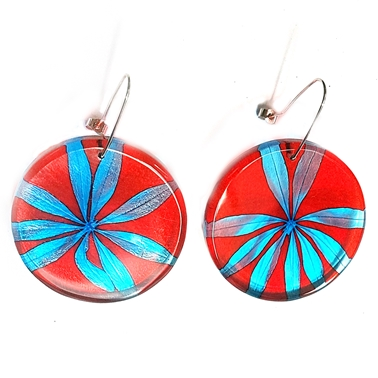 Red & Turquoise Star Leaf Disc Earrings