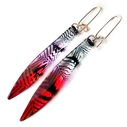 Red Conifer Long Drop Earrings