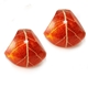 Red Scarlet Rounded Triangle Earrings