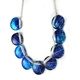Royal Blue Leaf 9 Button Necklace