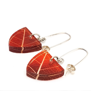russet Orange Skeleton Leaf Small Triangle Earrings